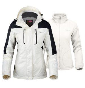 Chaqueta de Esquí 3 en 1 para mujer – Chaqueta de Invierno con forro polar y capucha impermeable – para mujer OutdoorMaster